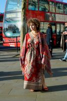London Bus Girl In Trafalgar Square by aegiandyad