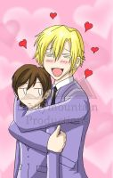 huggy - Tamaki and Haruhi by prettymountain