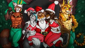 YCH Santa Cuties Final by lady-cybercat
