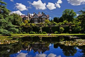 Bodnant Hall with pond by CharmingPhotography