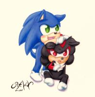 :Commission: Baby Sonic and Shadow by RAWN89