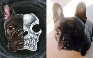 Custom French Bulldog Skull Painting by sobeyondthis