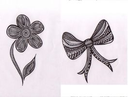 Flower and Bow pattern by happyhippybassist