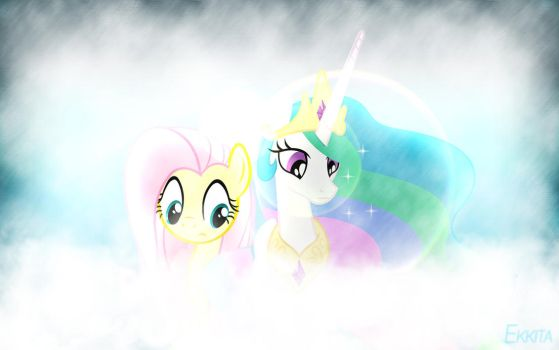 Fluttershy and Celestia Wallpaper by EkkitaTheFilly