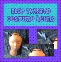 Blue Twisted Costume Horns by querulousArtisan