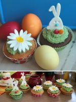 Easter Cupcakes by ginkgografix