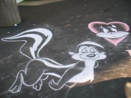 Pepe le Pew Chalk Art by freewingnsketch