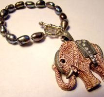 Elephant Black Pearl Bracelet by SteamSociety