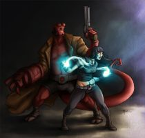 Hellboy and Liz by SpicerColor