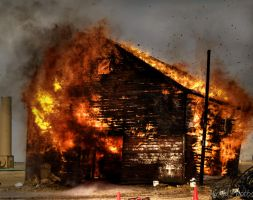 Burning the Barn Down by MirMidPhotos