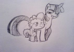 twilight and spike by ExcentricSketches4U