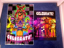 Five Nights at Freddy's Celebrate Posters by gold94corolla