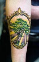 tree on frame tattoo by mojoncio