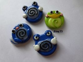 Poliwag and friends brooch / pins FOR SALE by dsam4