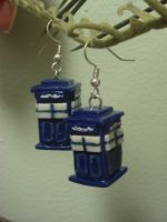 Tardis Earrings by KittyAzura