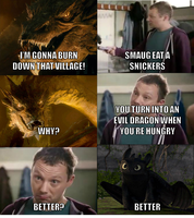 Smaug eats a Snickers by onyxcarmine