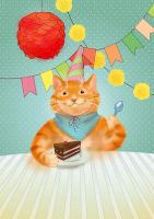 ginger cat and cake by overcover