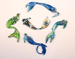 New Mermaid Tail Necklace Pendants by glittrrgrrl