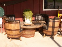 barrel table and chairs by ItsAllStock
