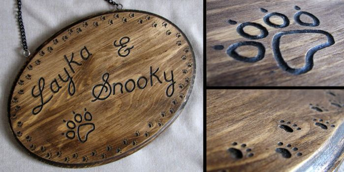 Personalised Wood Pet Plaque by ErurainaCrafts