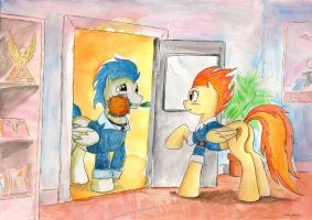 Commission: Soarin and Spitfire by SoulEaterSaku90