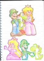 Just Peach, Luigi and Yoshi by LuigiYoshi2210