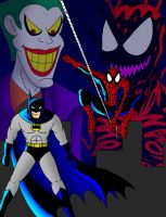 Spiderman and Batman by streetgals9000
