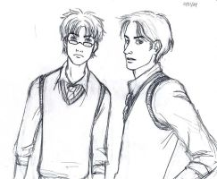 Padfoot and Prongs sketch by girl2004