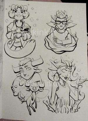 homestuck trolls lineart commission examples by BabaKinkin