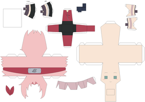 Sakura Papercraft Template - Request by Huski-Fan