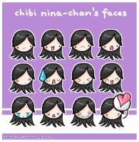 Chibi Nina-Chan's Faces by pixie-dixie-rulz