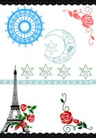 Eiffel tower and rose brushes by LaiciPlaysPiano