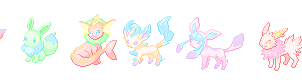 Eeveelutions cotton candy sprites by Flaretail