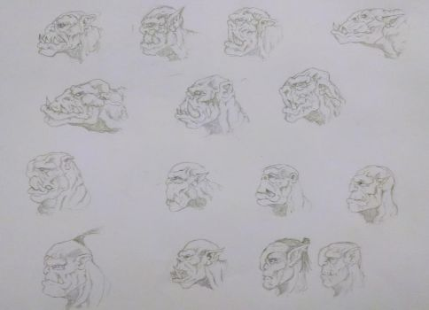 Orc Face Sketches by Yo-yoyoyo