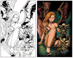 Darkchylde lineart: colored by VickiBeWicked