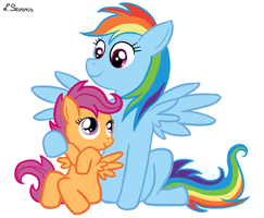 Scootaloo And Rainbow Dash by Leenspiration