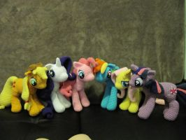 Mane 6 My Little Pony Cast by NerdyKnitterDesigns