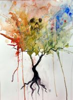 Skull Tree Watercolor Painting by TheNewestRedRanger