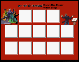 Top 13 Favorite DisneyNonDisney Villain Songs Meme by cartoonfanboyone