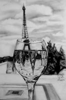 Eiffel Tower Reflection Drawing by Hannaasfour