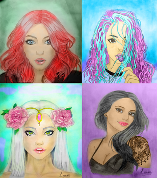 Digital colouring of some of my recent drawings by Lim0na