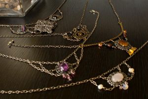 Steampunk and Victorian Style Necklaces by CrystalKittyCat