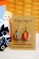 Recycled Paper Lantern Earring by BoutiqueVintage72