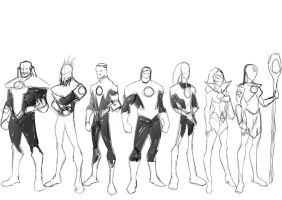 Lantern Corps print pencils by BloodySamoan