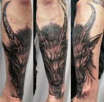 Bloody Baphomet Head TaT by 2Face-Tattoo