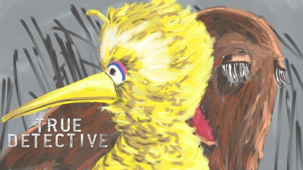 big bird and snuffalafagus in true detective by LateNiteDraw