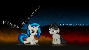 Octavia and Vinyl Scratch Wallpaper by MoonArt by eryk955