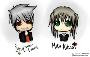 Maka Albarn and Soul Eater Evans by EpicNeri00