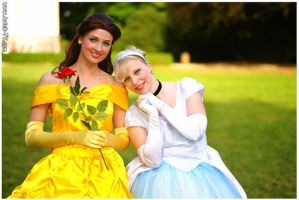 Cinderella and Belle by MysteriousMaemi