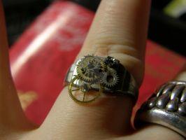 Steampunk Ring Silver by MotherBlessing